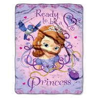 Sofia First Ready to be A Princess  Micro Raschel Blanket (46in x 60in)