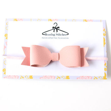 Pink baby hair bow band - faux leather - skinny elastic - uk seller hair bow, Girls hair bows, Big hair bow, Baby hair bows, Hair clips