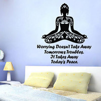 Wall Decals Vinyl Decal Sticker Murals Lotus Yoga Studio Decor Quote Girl KG812
