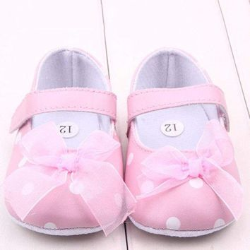 Toddler Baby Girls Mary Janes Princess Shoes Anti-Slip Soft Crib Shoes Prewalker