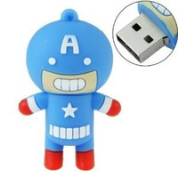 8GB USB Flash Drive Cartoon Captain America Shape 8G Memory Stick U Disk - Blue