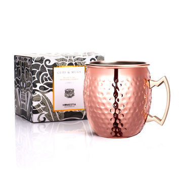 SALE !!!!!  550ml(18.60oz) Moscow Mule Mug Hammered Copper Plated Stainless Steel Beer Cup Copper Mug Rose Gold Drinkware