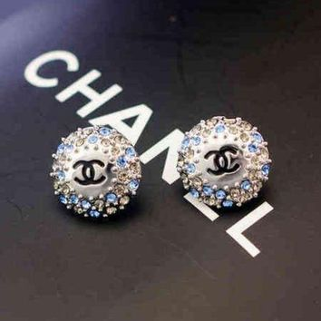 ONETOW Chanel Women Fashion CC Logo Diamonds Stud Earring Jewelry