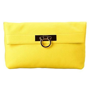 Salvatore Ferragamo 100% Calf Leather Yellow Women's Clutch Bag
