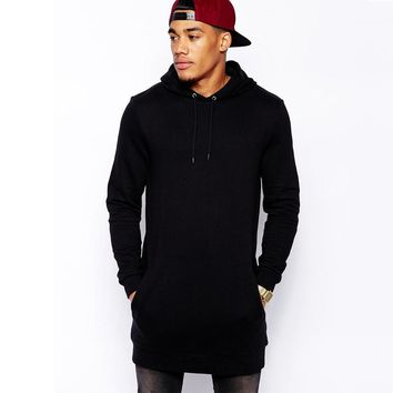 Premium Streetwear Spring  Fashion Men's Long Black Hoodies Sweatshirts Feece With Side Zip Longline Hip Hop Streetwear Shirt