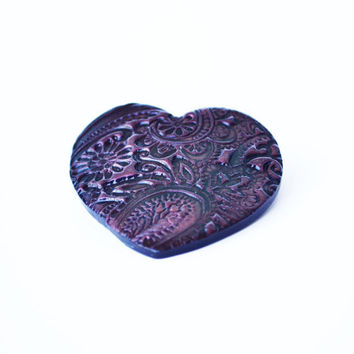 Glimmering floral heart hair barrette - pink polymer clay stamped pattern hair clip