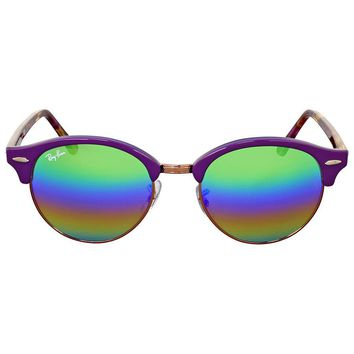 Ray Ban Clubround Mineral Green Rainbow Flash Sunglasses