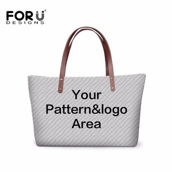 FORUDESGISNS Customize Style Women Fashion Large Bag For Girls Customize Your Pet Animal Pattern Or Logo Woman Bags Ladies Tote