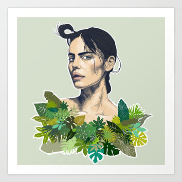 tropical beauty // the girl with the jungle leaf shirt Art Print by Camila Quintana S
