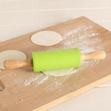 Wooden Handle Silicone Rolling Pin small  22.5cm Baking Tool