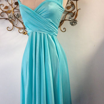 Mermaid Aqua Satin-Octopus Infinity Wrap Dress- Bridesmaids, Wedding