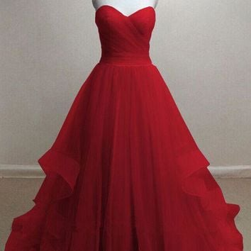 Tulle Strapless Red Sweetheart Long Prom Dress