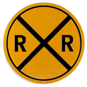 Railroad Crossing R R Round Signal Metal Sign
