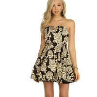 Promo- Black Floral Pleated Dress