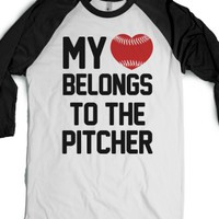 My Heart Belongs to the Pitcher-Unisex White/Black T-Shirt