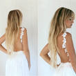 Beach Bride Off White Backless Lace Wedding Gown