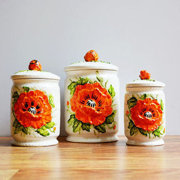 Vintage Floral Canisters With 3D Flowers / Set of 3 Decorative Mid Century Storage / Instant Collection / Rustic Shabby Chic Home Decor