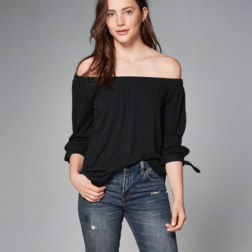 Easy Knit Off-The-Shoulder Top