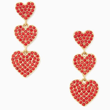 yours truly pave heart triple drop earrings | Kate Spade New York