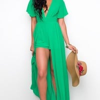 Hot Tropics Maxi Romper - Green