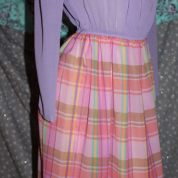 Herman Marcus Dallas sheer lilac pink plaid vintage dress sz 10 60s puff LS pleated