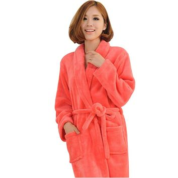 Women's Plush Soft Warm Fleece Bathrobe Robe - Size L(Watermelon Red)