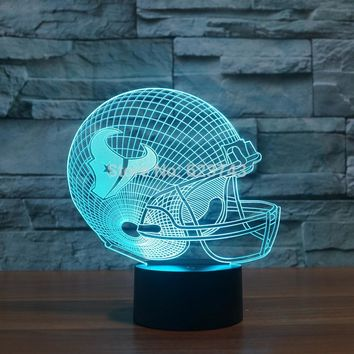 Houston Texans American Football cap helmet 3D NFL LED Color Changing Decor night light by Touch induction control