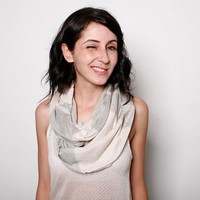 Infinity women loop knitted scarf cream and stone by AndyVeEirn