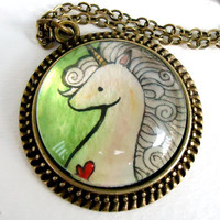 Wearable Art Pendant Unicorn Necklace Watercolor by cellsdividing