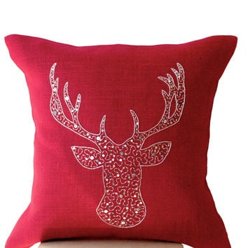 Deer Pillows - Animal pillow Cover silver stag embroidered sequin -Burlap pillow -Red Moose pillow - Silver pillows- Christmas pillows 16x16