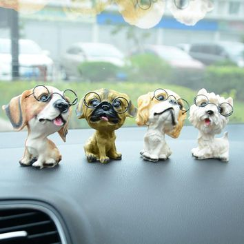 Resin Glasses Dog Doll Car Dashboard Decoration Ornament Toy Cute Automobile Interior Puppy Figurines Ornaments Car Styling