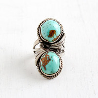 Vintage Sterling Silver Double Turquoise Ring- Retro Size 7 1/2 Southwestern Native American Style Floral Chunky Jewelry