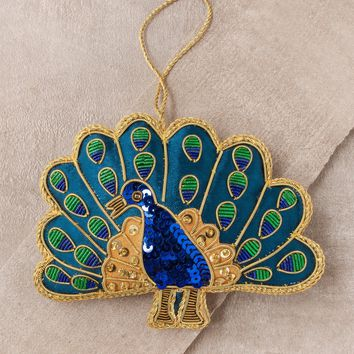 Fair Trade Detailed Peacock Ornament