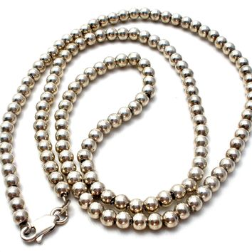 """Vintage Chain Strung Sterling Silver Bead Necklace 20"""""""