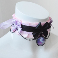 Kitten play collar - Unicorn queen - ddlg little princess choker - kawaii cute fairy kei colorful black violet and pastel pink
