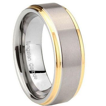 8MM Tungsten Carbide Gold Plated 2 Tone Step Edges Men Bands Ring