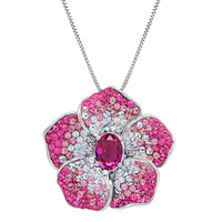 Sterling Silver Pink Faded Crystal Flower Pendant-Necklace made with Swarovski Elements