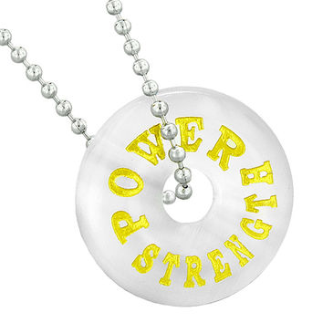Inspirational Power Strength Amulet Lucky Donut Charm White Simulated Cats Eye Pendant 18 Inch Necklace