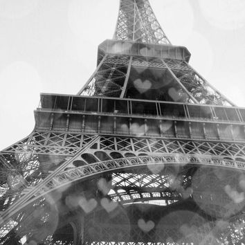 "Eiffel Tower French Decor Paris Je T'aime Black and White, 8x12"" Matte Photo Print by Anna Delores Photography"
