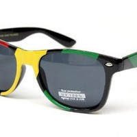 Amazon.com: Rasta Reggae Wayfarer Retro Sunglasses Bob Marley Snoop Lion Style W54 Black/yellow/red: Clothing