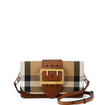 Burberry Small Buckle House Check & Leather Shoulder Bag, Tan