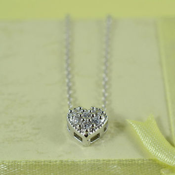 Sweet CZ Heart Necklace,  Rhodium Plated Brass Pendant, Delicate Chain, Everyday Wear, Perfect Gift