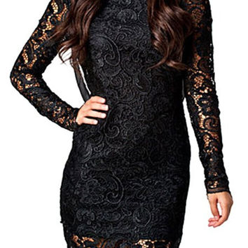 Black Backless Long Sleeve Lace Mini Dress