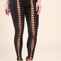 Eyelet Corset Front Lace-Up Pants