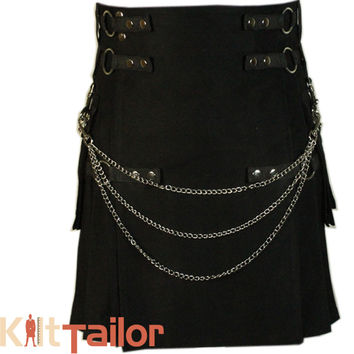Deluxe Black Fashion Utility Kilt Custom Made