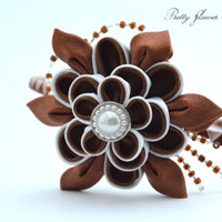 Kanzashi, Fabric, Flower, Headband, Chocholate, Brown, White, Elegant, Accessory