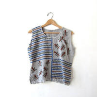 Vintage tribal top. Cropped boxy tank top. Embroidered India shirt.  Boho Ethnic Hippie Top.