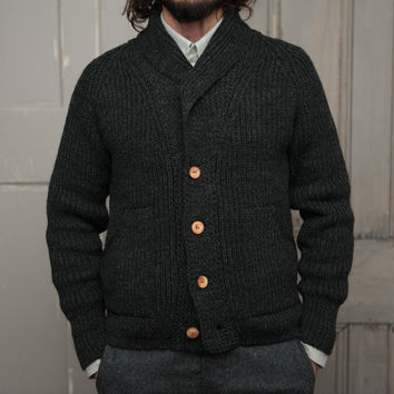 The Central Cardigan   Charcoal Wool