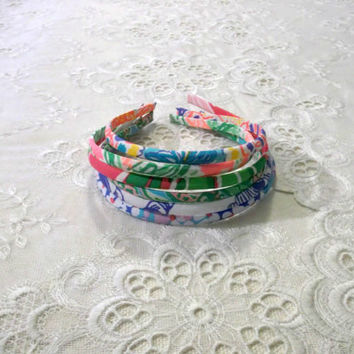 Preppy Set of 6 Teeny Lilly Pulitzer Fabric Headbands - Set 2