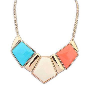 Candy Color Collar Necklaces Pendants Statement Metal Choker Necklace For Women Vintage Jewelry Accessories